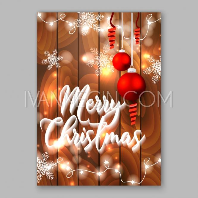 Christmas Glowing Lights Merry Christmas And Happy New Year Card