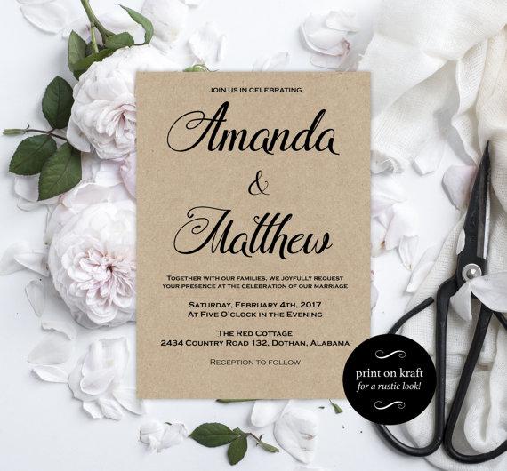 printable wedding invitations kraft wedding invitation editable