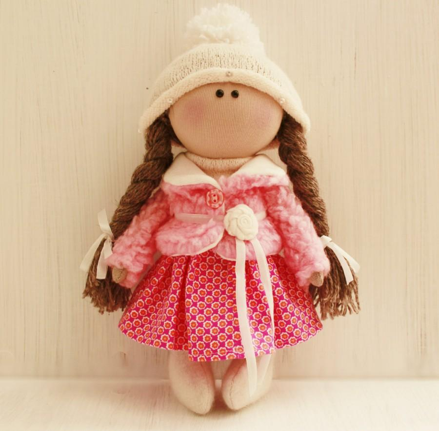 Свадьба - tilde doll rag doll handmade Christmas gift souvenir doll cute doll 2016 trends doll pink white and games  gift idea dolls and figurines