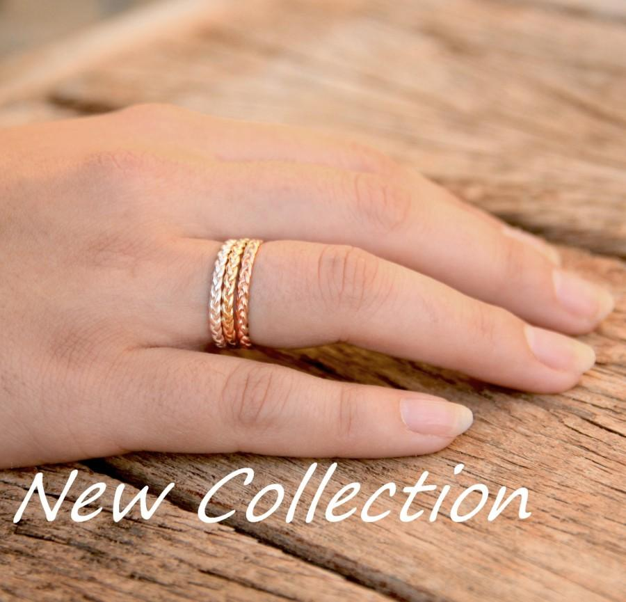 cccd7bad31 Gold stacking rings, braid stackable ring set, thin stack rings set, gold  stack thin rings set yellow white and rose