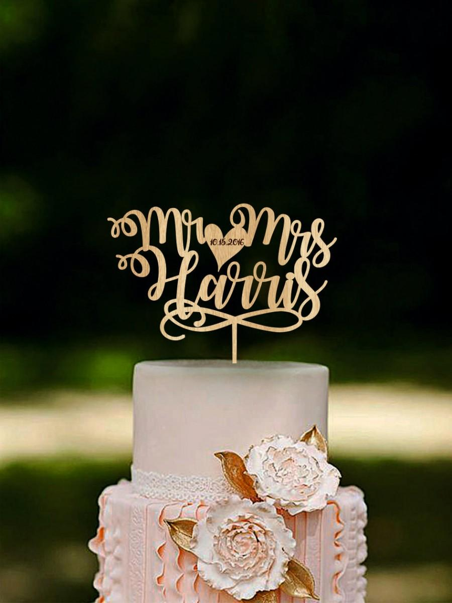 Mariage - Mr and Mrs cake topper, Custom name cake toppers, Unique wedding cake topper, Last name wedding cake topper, Personalized cake topper Gold