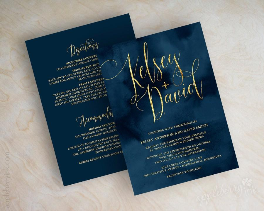 Dark Blue Wedding Invitations: Navy Wedding Invitation