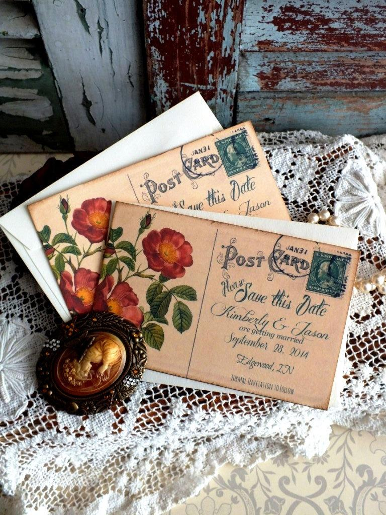 Vintage Postcard Wedding Save The Date Cards Handmade By