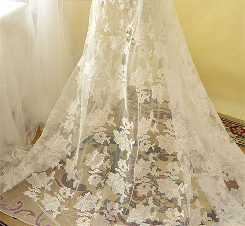 Свадьба - Sequin Embroidery Lace Fabric, Wedding Lace Fabric, Ivory Bridal Lace Fabric, 51 inches Wide for Dress, Costume, Craft Making, 1/2 Meter