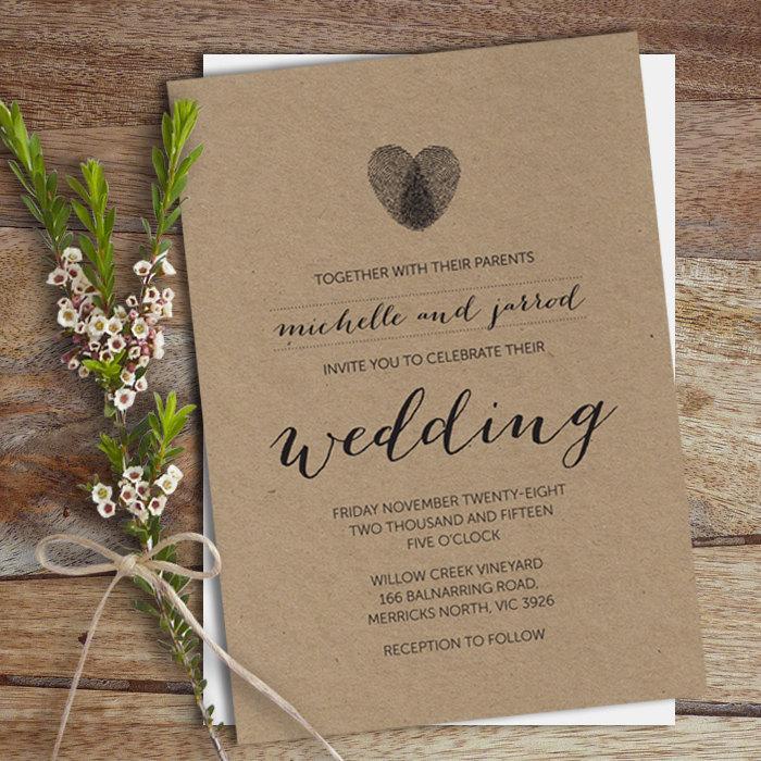 Hochzeit - Wedding Invitation, Wedding Invite, DIY Printable, Heart Thumbprint