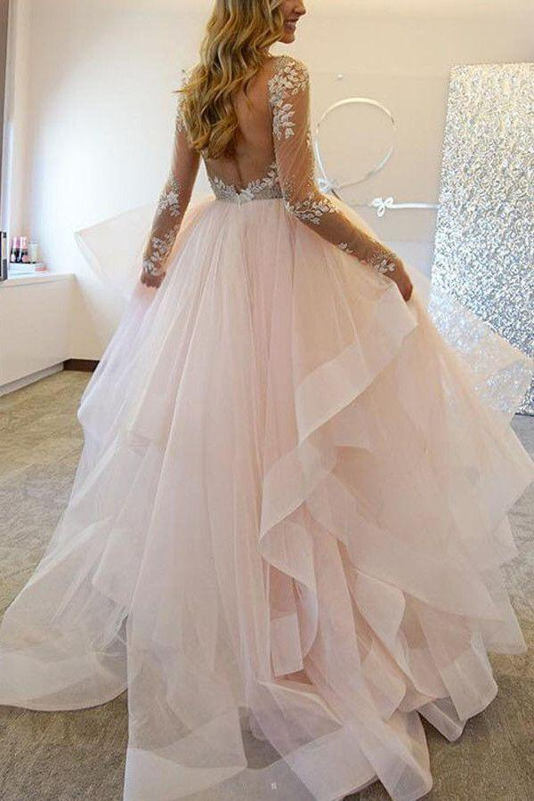 Свадьба - Elegant A-Line Long Sleeves Tulle Wedding Dresses With Appliques WD036