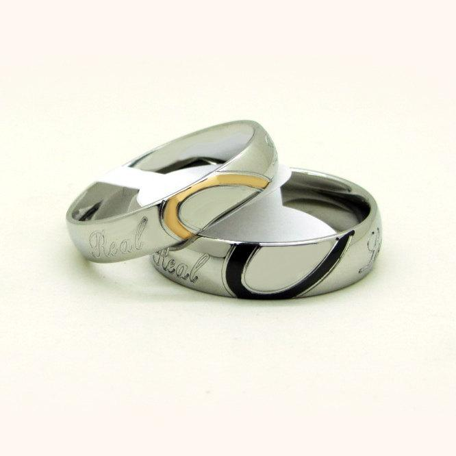 Wedding - Custom Engravable Matching Half Heart Promise Couples Rings Set for 2