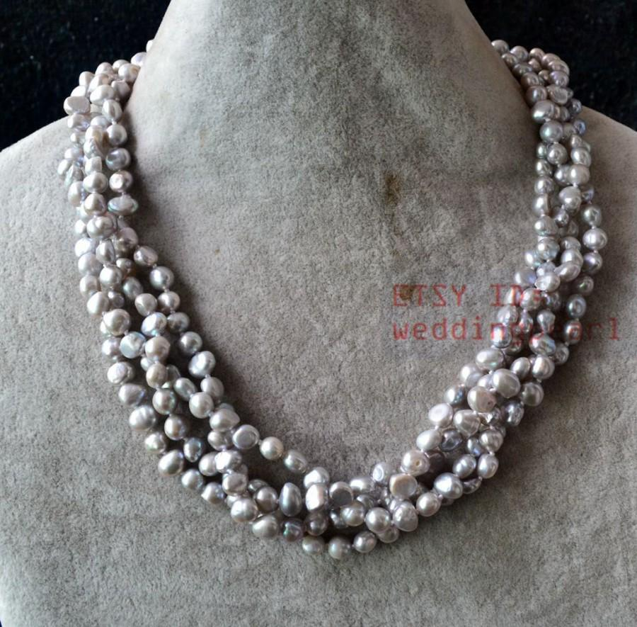 Hochzeit - gray pearl necklace,four row 6-6.5 mm gray baroque pearl necklace,twisted gray necklace.real pearl necklace,statement necklace,genuine pearl