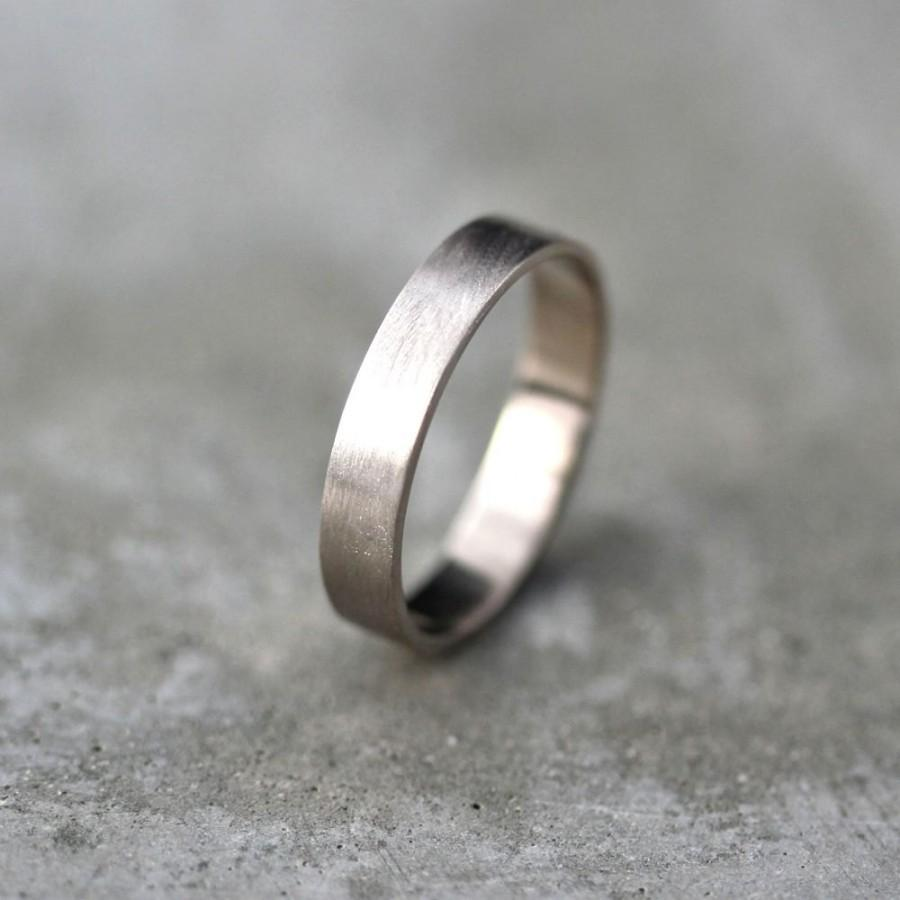 Hochzeit - Men's Gold Wedding Band, Unisex 4mm Brushed Matte Flat 14k Recycled Palladium White Gold Wedding Ring Eco Gold Ring -  Made in Your Size