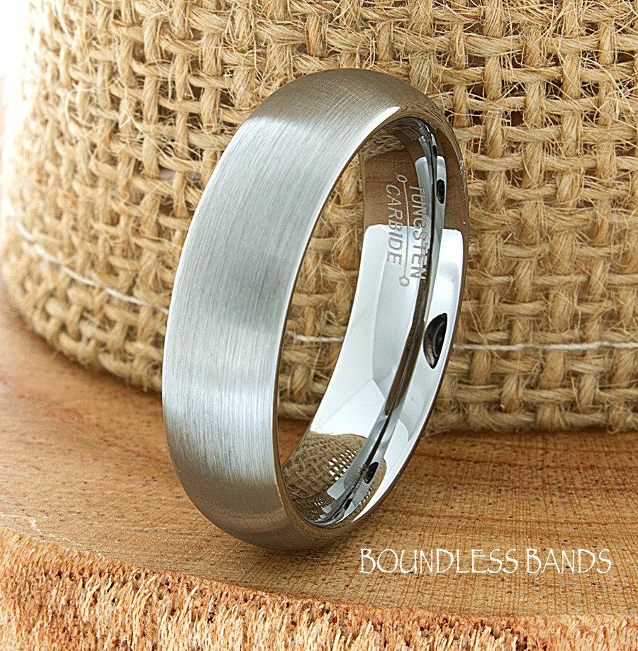 Mariage - Tungsten Wedding Ring Dome Shaped Brushed Mens Wedding Band Custom Engraved Any Design Couple Wedding Band Mens Women's 6mm Modern New Band