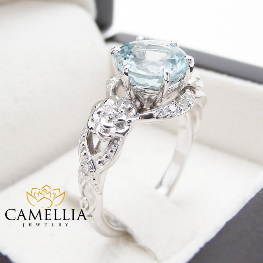 Mariage - Unique Aquamarine Engagement Ring 14K White Gold 2 Carat Aquamarine Ring Art Deco Engagement Ring Floral Ring