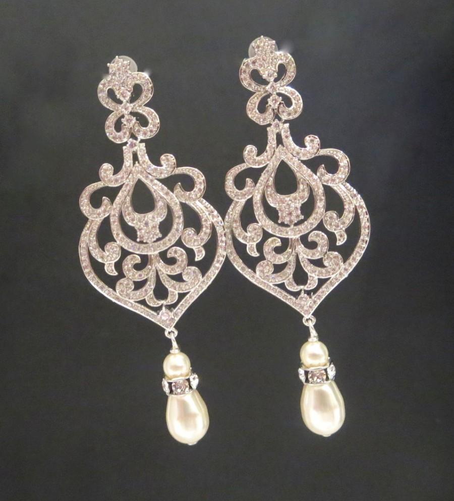 Hochzeit - Chandelier Wedding earrings, Crystal Bridal earrings, Art Deco earrings, Bridal jewelry, Crystal earrings, Rose gold earrings, AMELIA