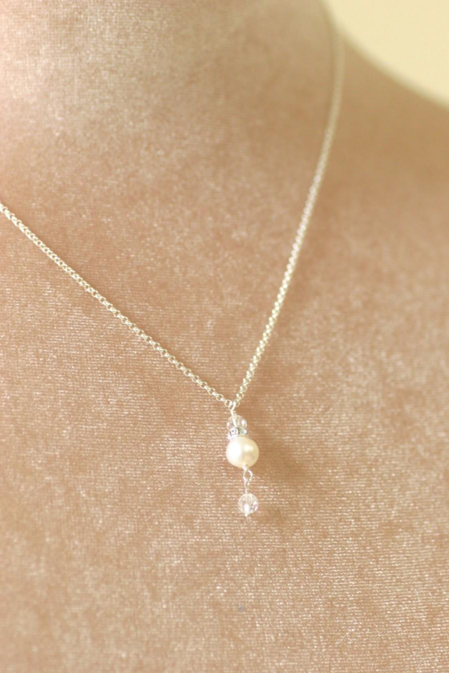 Hochzeit - Pearl pendant necklace, bridesmaid necklace pearl, bridesmaid jewelry bridal, Swarovski necklace - Claudia