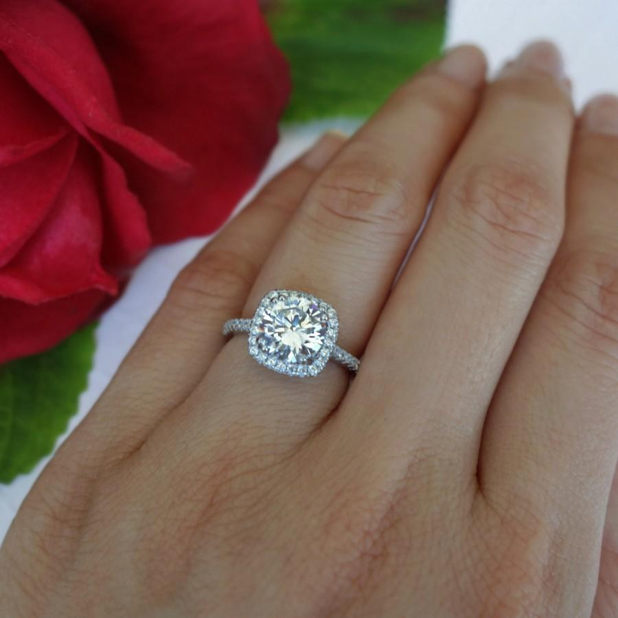 Mariage - New! 2.25 ctw Classic Square Halo Engagement Ring, Man Made Diamond Simulant, Half Eternity Band, Halo Ring, Wedding Ring, Sterling Silver