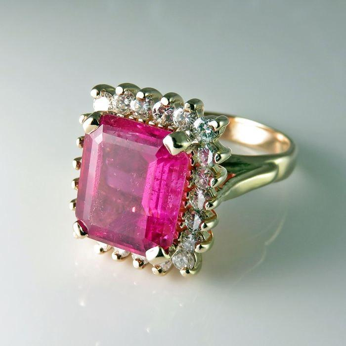 Mariage - Pink Tourmaline Diamond Engagement Ring Art Deco Engagement 1940s Engagement Ring Rubellite Ring