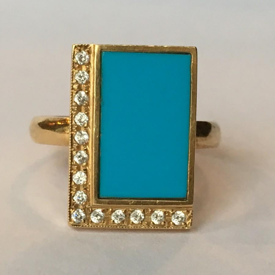 Mariage - Vintage Turquoise Ring. Diamond Accents. 18K Yellow Gold. Modernist Ring. Unique Engagement Ring. Estate Fine Jewelry.  December Birthstone.