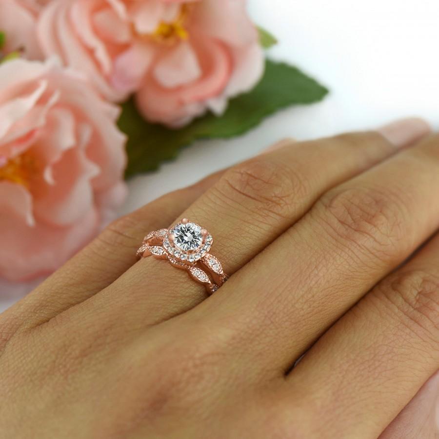 Hochzeit - 3/4 ctw Art Deco Bridal Set, Vintage Style Wedding Set, Man Made Diamond Simulants, Halo Engagement Ring, Sterling Silver, Rose Gold Plated