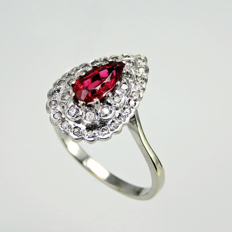 Hochzeit - Art Deco Engagement Ring Natural Earth Mined Spinel Ring Antique Diamond Engagement Ring Color Engagement Ring Pear Engagement Ring R3321