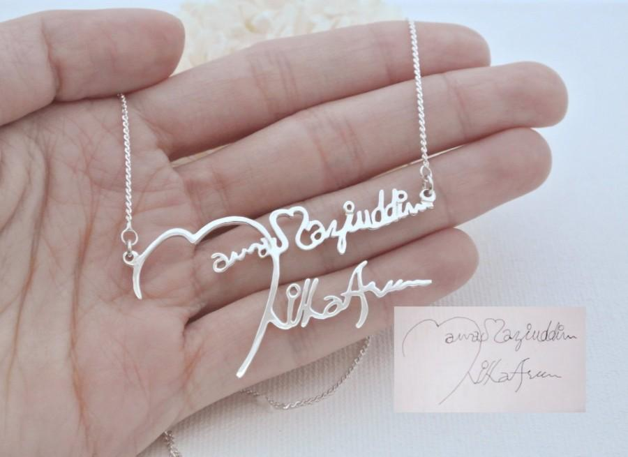 Hochzeit - FLASH SALE 20% OFF- Signature Necklace- Handwriting Necklace- Memorial Personalized Jewelry- Bridesmaid Gifts- Memorial Gift-Christmast Gift