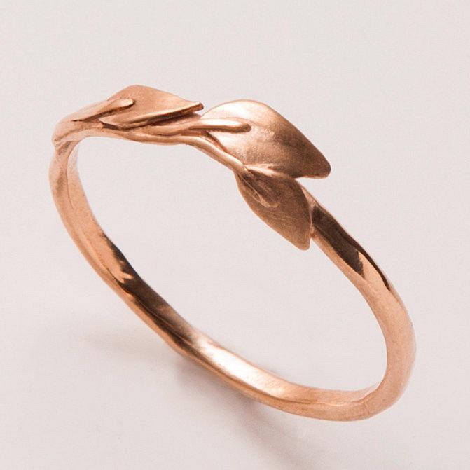 Hochzeit - Leaves Ring - 14K Rose Gold Ring, unisex ring, wedding ring, wedding band, leaf ring, filigree, antique, art nouveau, vintage, 1