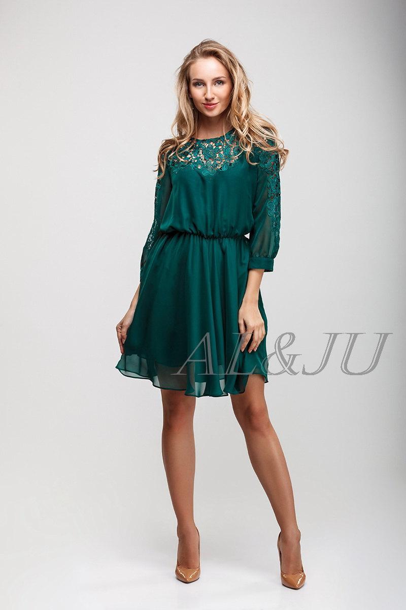 Green Dress Bridesmaid Lace And Chiffon, Short Emerald Dress ...