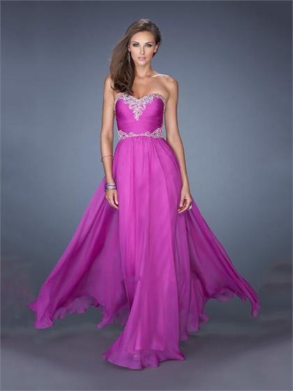 Wedding - Sweetheart Beadings Appliques A-line Chiffon Prom Dress PD2494