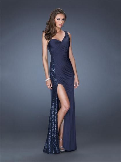 Hochzeit - One Shoulder Sequins Floor Length Chiffon Prom Dress PD2504