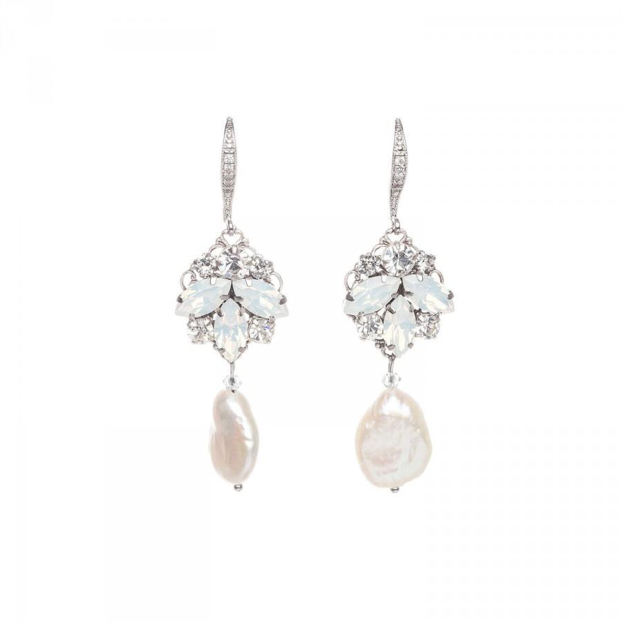 5617fab48e1f97 Wedding Earrings, Crystal Earrings, Bridal Earrings , Swarovski Earrings,  Ivory Pearl Drop Earrings , Opal Earrings , Wedding Jewelry