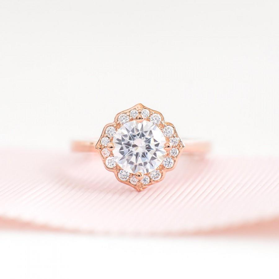 Wedding - Rose Gold Promise Ring - Unique Engagement Ring - Vintage Round Cut CZ Ring - Sterling Silver engagement Ring - Art Deco Rose Gold Ring