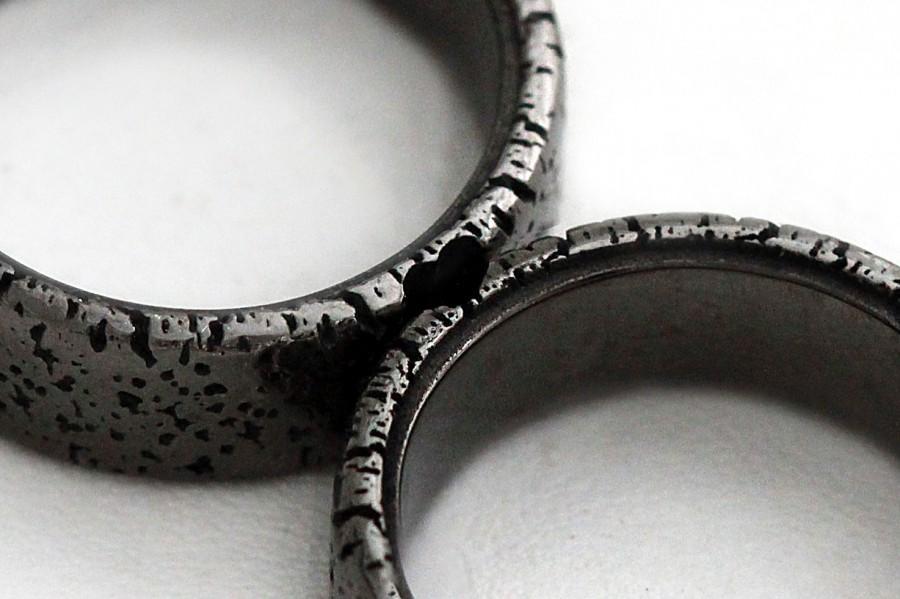 Unique Couple Rings Black Heart Ring Set Black Band For Men