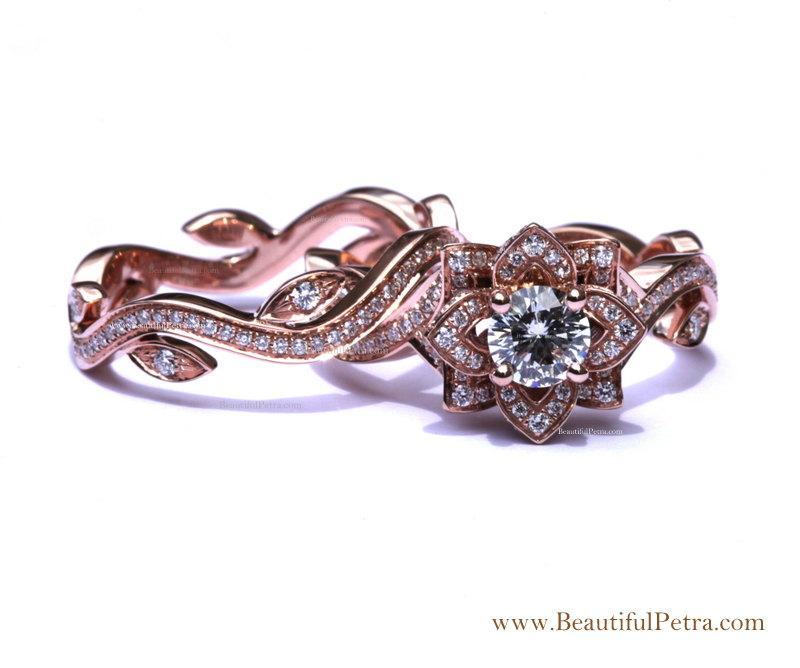 Mariage - BLOOMING Work Of Art - 14k Flower Leaf Rose Lotus Diamond Engagement Wedding Ring Set - Leaves on the band - brides - fL07- Patented design