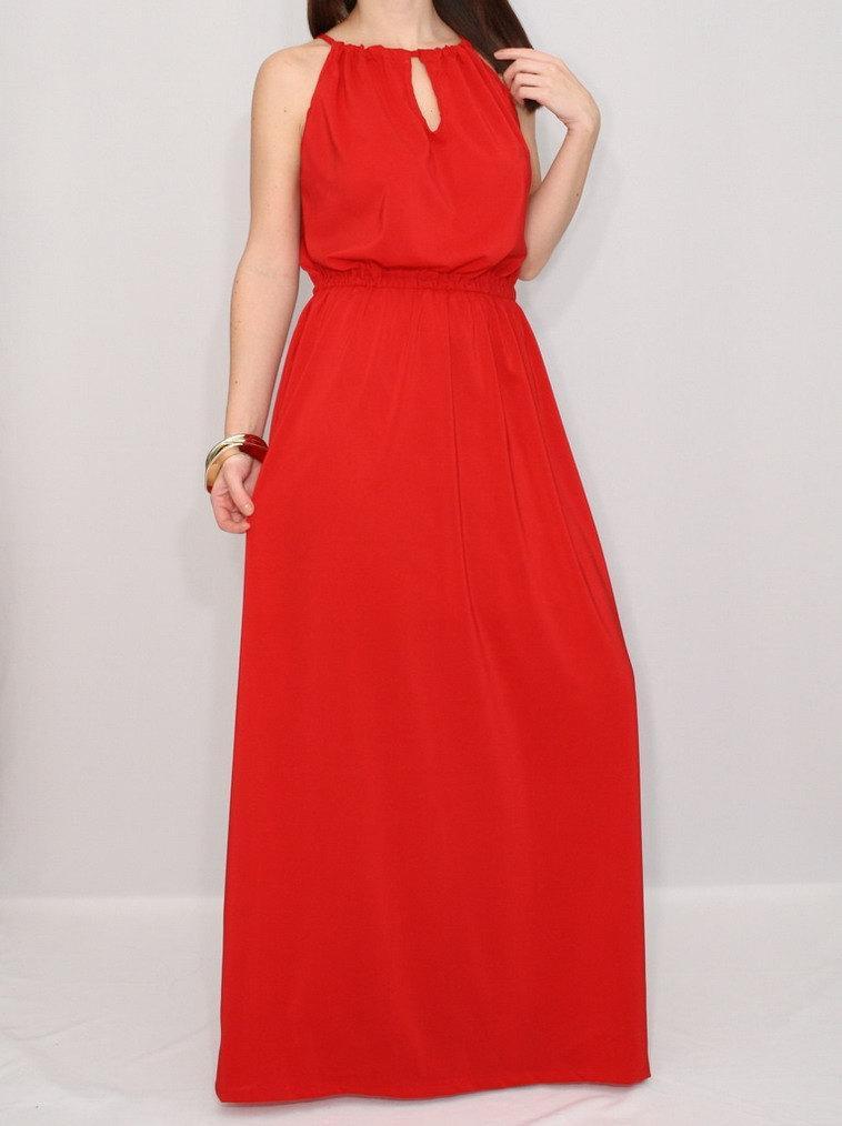 زفاف - Evening dress Red Bridesmaid dress Chiffon dress Prom dress long Keyhole dress