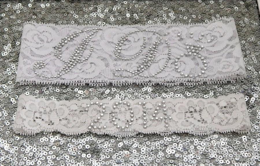 Свадьба - Wedding Garter Set - WHITE Bridal Garter with SILVER Rhinestone I Do Show Garter & Rhinestone YEAR Toss Garter - other colors