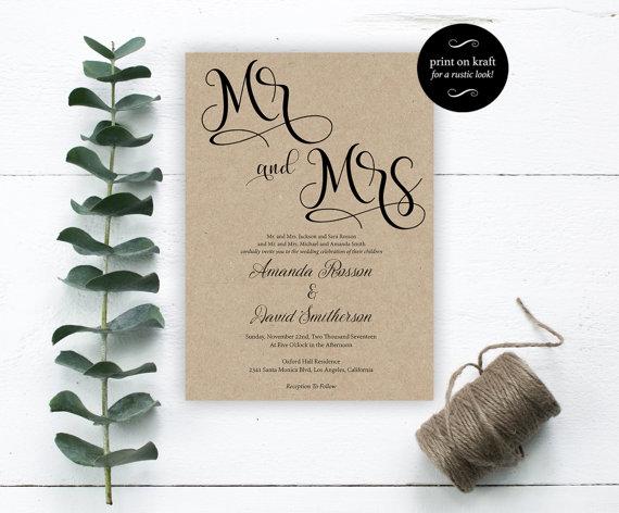 Hochzeit - Mr. and Mrs. Wedding Invitation - Wedding Invitation Template - Editable Template - Editable Text - Downloadable Wedding
