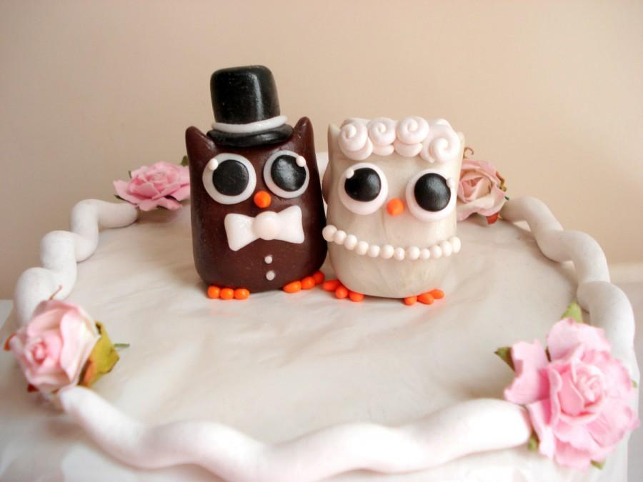 Mariage - Owl Wedding Cake Topper Bride and Groom Owl Cake Toppers