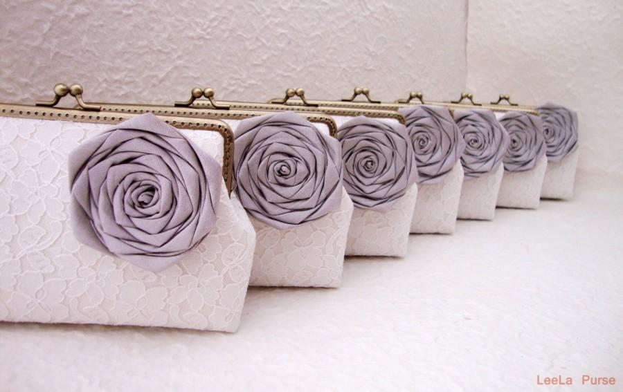 Mariage - Grey Lace Bridesmaid Clutch Set of 7, Personalized Clutch Set, Wedding Lace Clutch, Seven Inch Bronze Frame