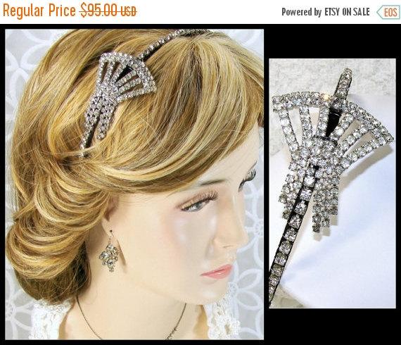 Wedding - 20% SALE Bridal Headband Chain Fringe Dangle Jeweled Flapper Diadem Rhinestone Headpiece Downton Gatsby Wedding 1920s Art Deco Style Vintage