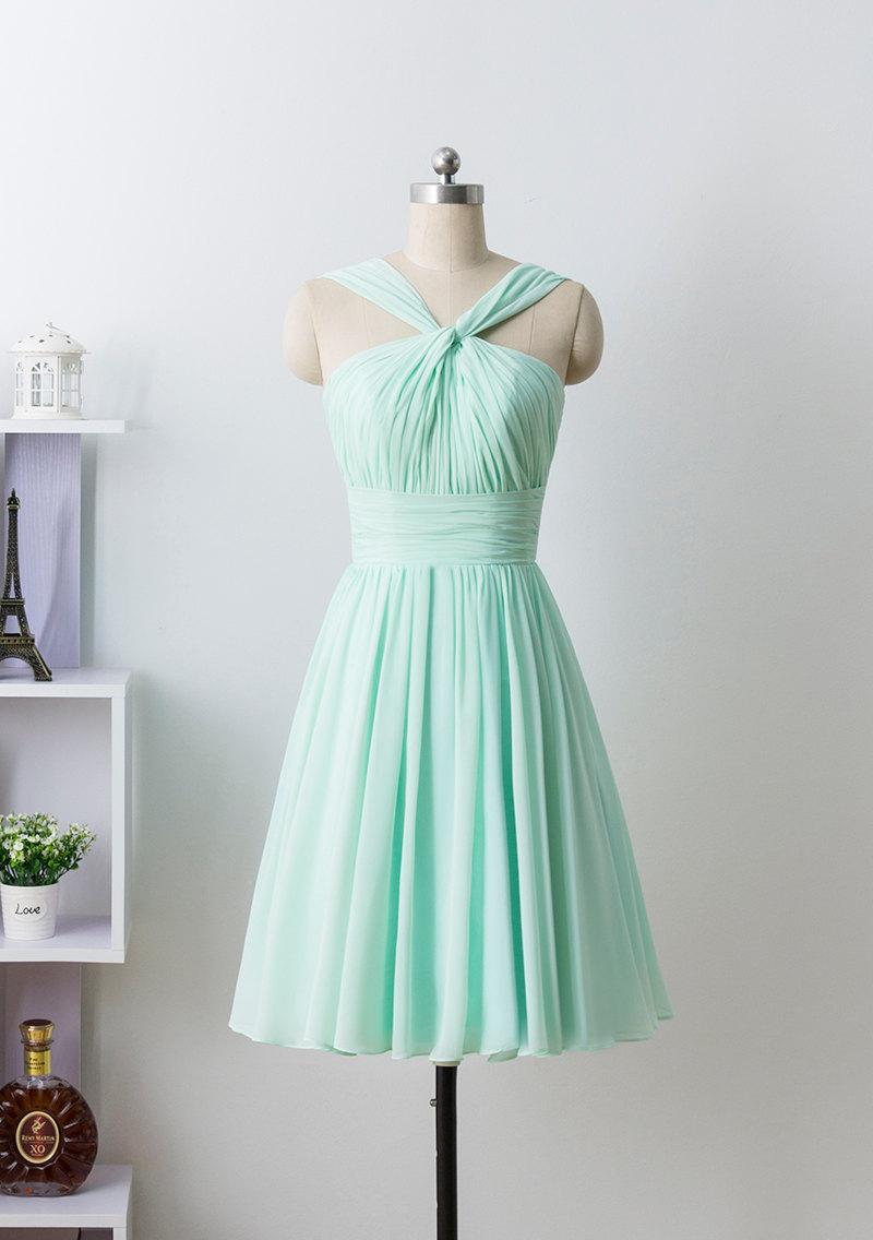 Mariage - Mint prom dress, Bridesmaid Dress, Short Chiffon formal dress