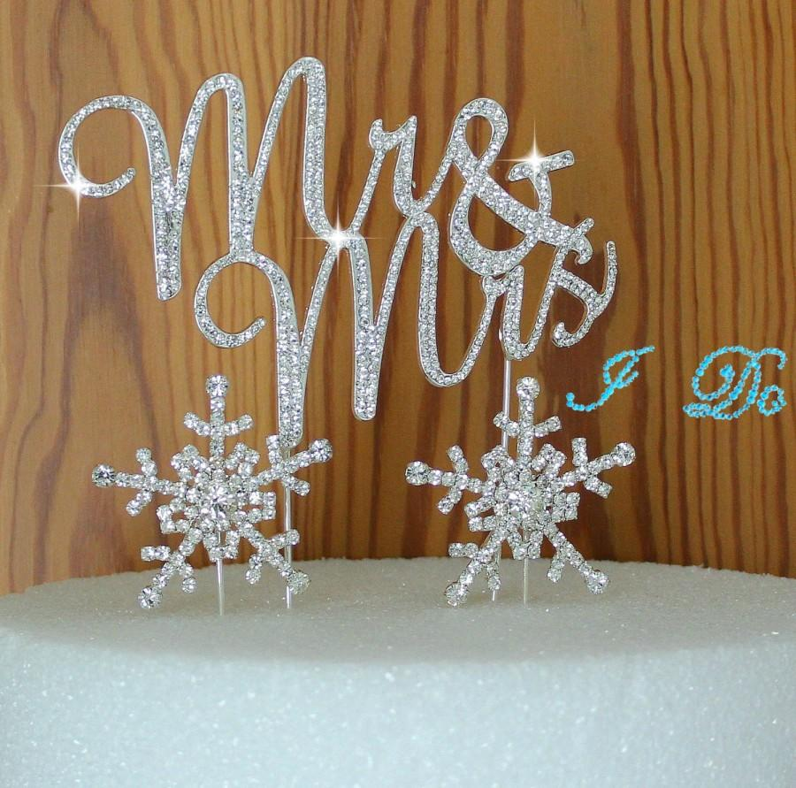 Mariage - Winter Wedding cake Topper in Crystal rhinestones Mr & Mrs in silver Snow Flakes cake decoration PLUS I DO shoe sticker