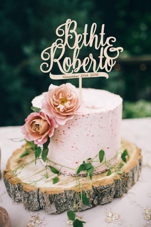 Mariage - Wedding Cake Topper Names Wedding Cake Topper Mr Mrs Golden Personalized Wedding Topper  Wood Cake Topper