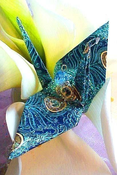 زفاف - Ana Tavoos Peacock Peace Crane Bird Wedding Cake Topper Party Favor Origami Christmas Ornament Japan Paper Place Card Holder Blue Decoration