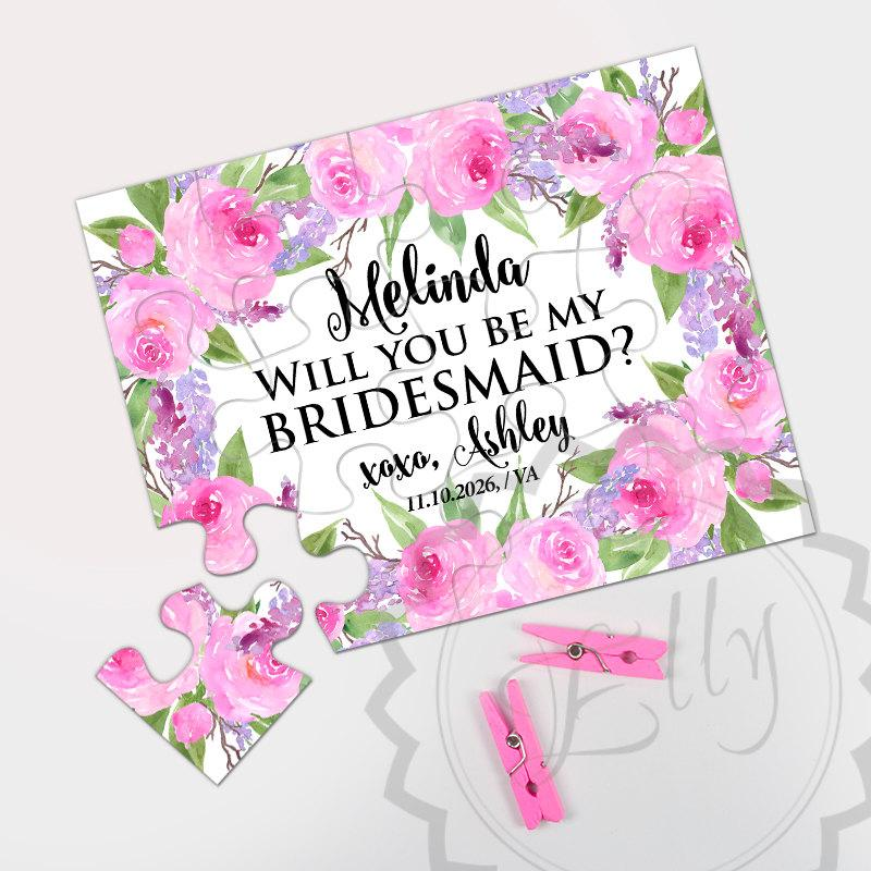 Свадьба - Unique Bridesmaid Proposal Puzzle Gift - Will You Be My Bridesmaid, Floral Bridal Pary Gift, Bride Tribe, Maid of Honor Gift, Flower Girl