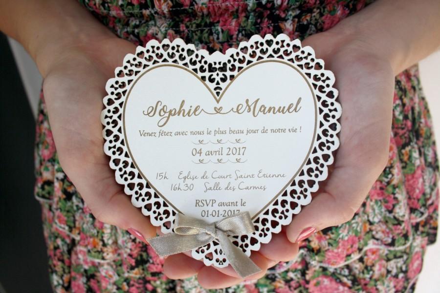 Свадьба - White lace Invitation (20) wedding invitation wooden Invitation romantic country rustic woodland original wood lace wedding invitations