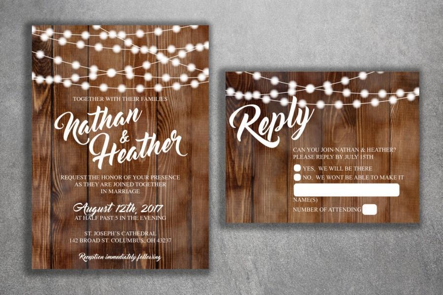 Свадьба - Country Wedding Invitations Set Printed, Rustic Wedding Invitation, Burlap, Kraft, Wood, Lights, Outside, Southern Wedding Invitations, Barn
