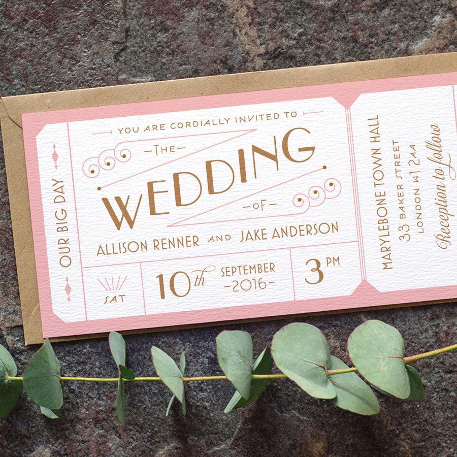 Свадьба - Destination Ticket Wedding Invitation / 'Just the Ticket' Art Deco 1920s Wedding Invite / Blush Pink Copper / Custom Colours / ONE SAMPLE