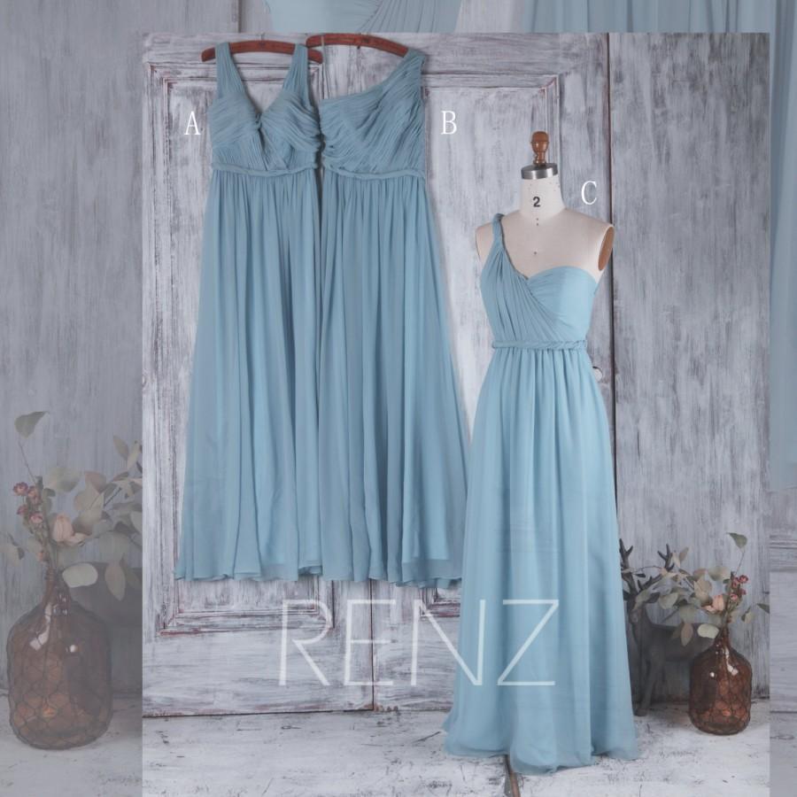 زفاف - 2016 Long Dusty Blue Bridesmaid Dress, Mix and Match Wedding Dress, Mismatch Chiffon Prom Dress, Maxi Dress Floor Length (H217/H218/H219)