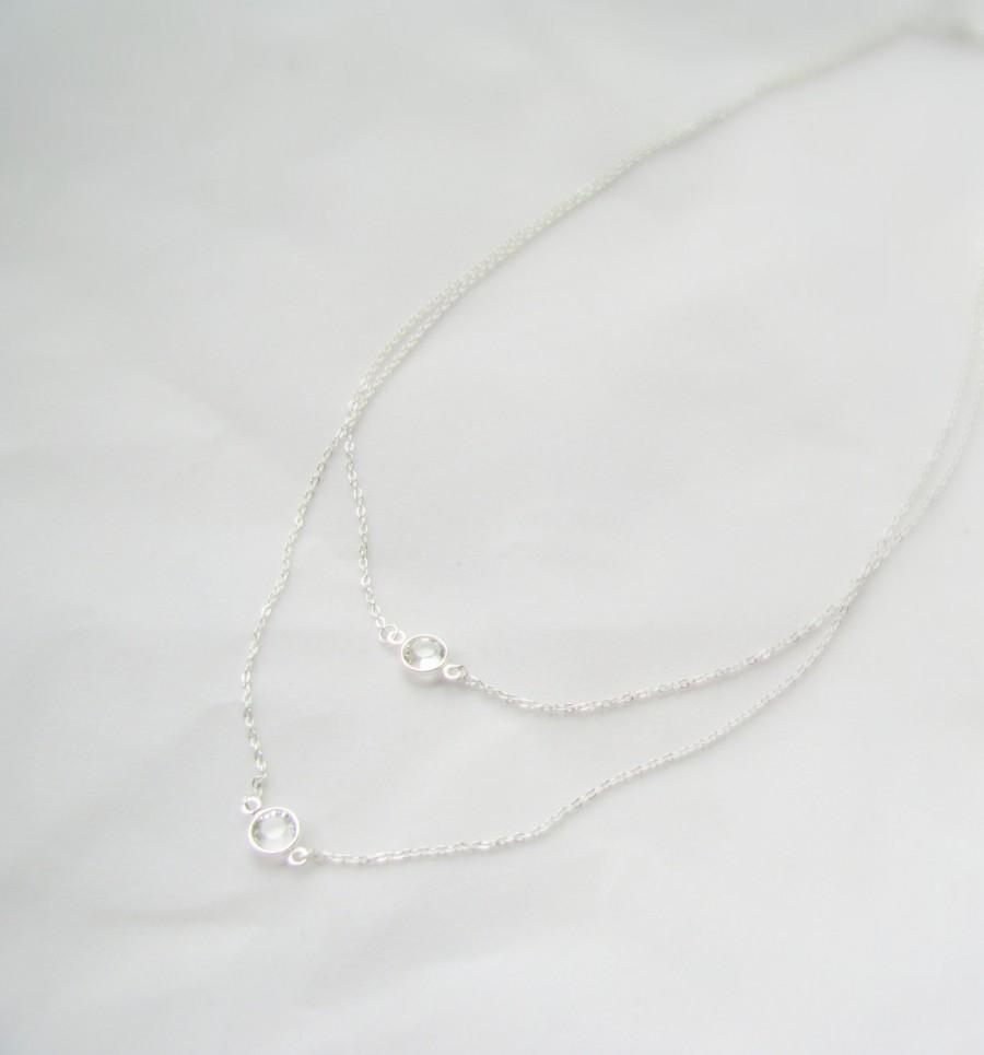 Hochzeit - Sterling Silver, Two Strand Crystal Necklace, Swarovski Crystal, Giada Necklace, Layered Crystal, Double Strand Silver Bridesmaid Present
