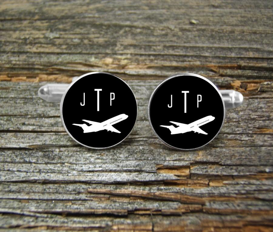 Wedding - Airplane Aviation Cufflinks Monogramed Silver or Gold-Cufflinks-Wedding-Jewelry Box-Keepsake-Men Gift-Pilot-Flying-Groom-Commercial Airliner