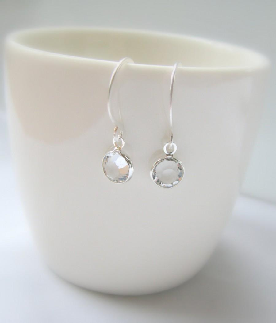 Mariage - Swarovski Crystal Earrings, Clear Crystal, Small Sterling Silver Earrings - Tiny Drop Dangle - Everyday Earrings, Bridesmaids Gift, Delicate