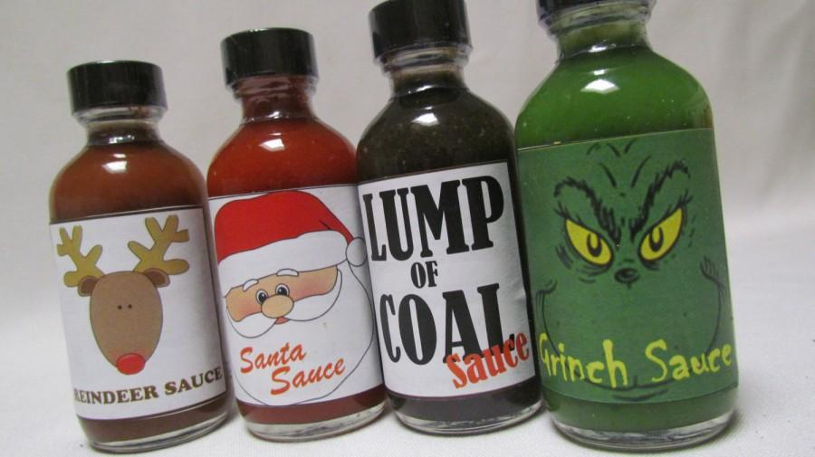 Hochzeit - Hot Sauce Grinch Lump of Coal Santa Claus Reindeer Hot Sauce Holiday themed gift set ~ Personalized gift box for clients customers dad